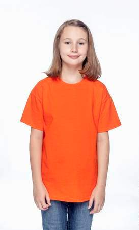 HANES Unisex 6.1 oz. Tagless T‑Shirt - Youth (Orange)