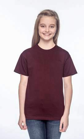 HANES Unisex 6.1 oz. Tagless T‑Shirt - Youth (Maroon)