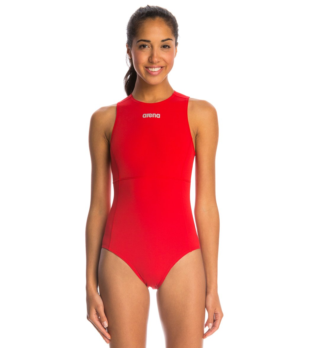 ARENA Women's Mission Water Polo One Piece Swimsuit - Adult (Red/Metallic Silver (45))