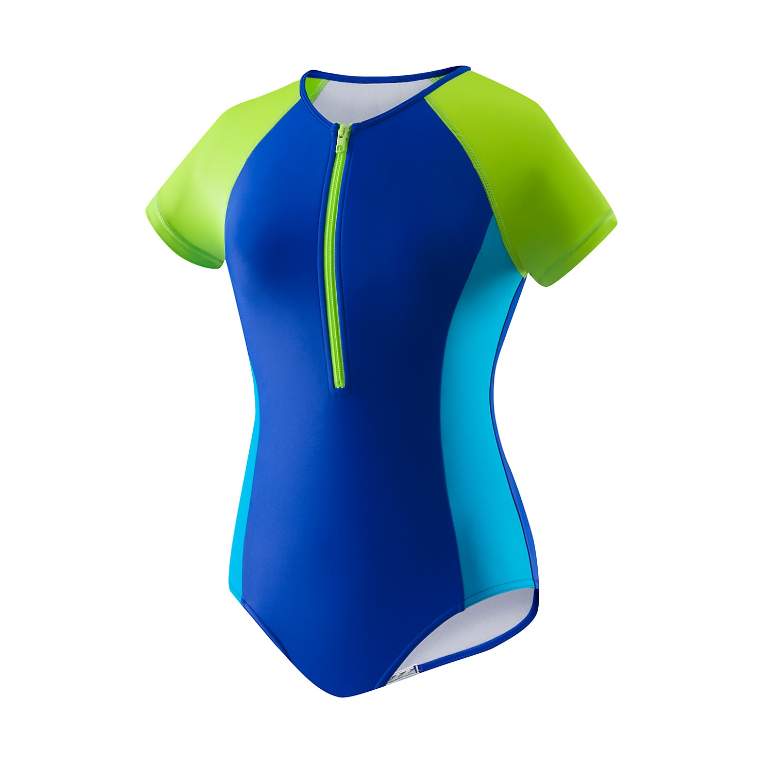 SPEEDO Girls Short Sleeve Zip One Piece (7-16) 7714002