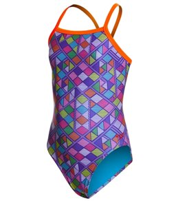 SPEEDO Flipturns Propel Back One Piece Swimsuit (4 Styles) (Purple/Orange (Geotribe) (993))