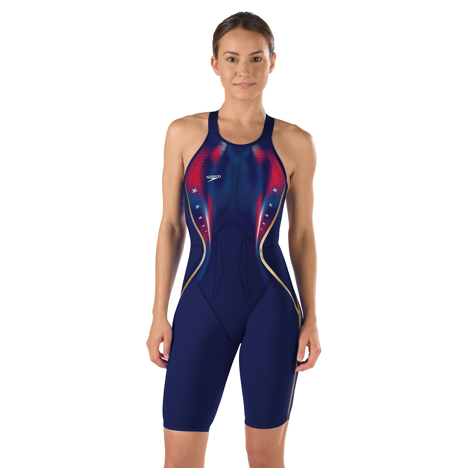 SPEEDO LZR Racer X Printed Kneeskin (Navy/Red/White (410))