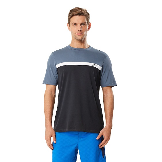 SPEEDO Men's Colorblock Swim Tee (Speedo Black (001))