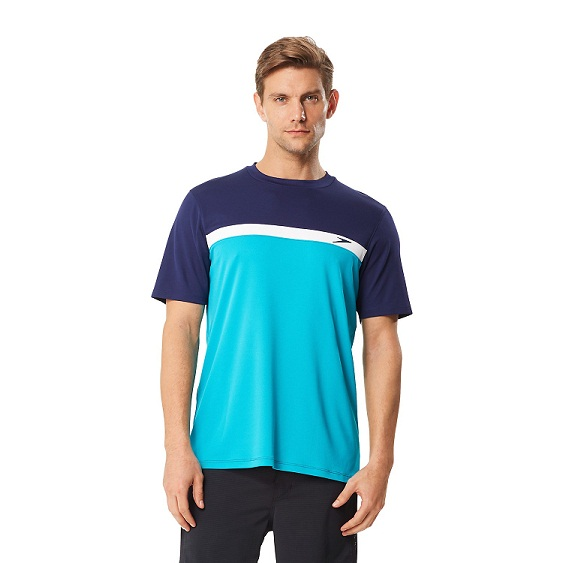 SPEEDO Men's Colorblock Swim Tee (Marine Green (315))