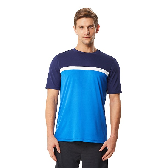SPEEDO Men's Colorblock Swim Tee (Classic Blue (421))