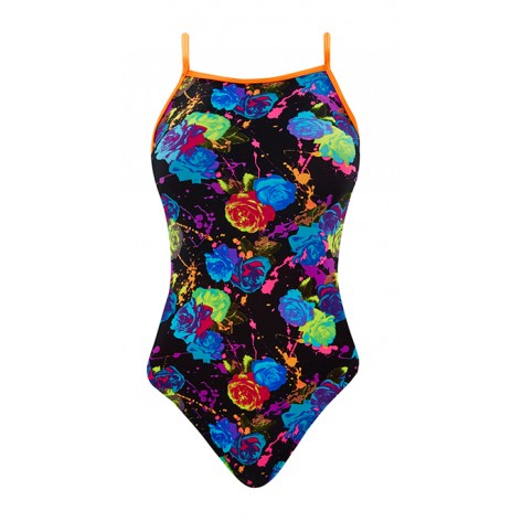 THE FINALS Women's Funnies Rose Bud Flutter Back Swimsuit (Black Multi (59))