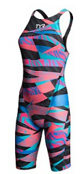 TYR Female Avictor Prelude Open Back Swimsuit (Blue/Pink (390))