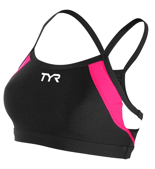 TYR Women's Competitor Thin Strap Bra (Black/Pink (121))