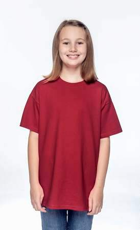 HANES Unisex 6.1 oz. Tagless T‑Shirt - Youth (Deep Red)