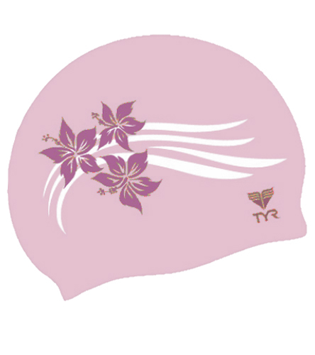 TYR Flowers Silicone Swim Cap ( DarkPink/LightPink (673))