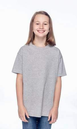 HANES Unisex 6.1 oz. Tagless T‑Shirt - Youth (Light Steel)