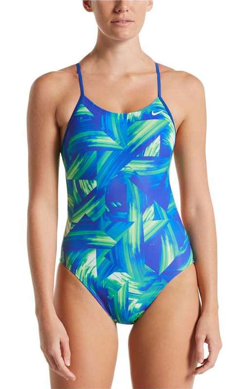 NIKE Women's Twisted Break Cut-Out One-Piece (Blue Green (903))