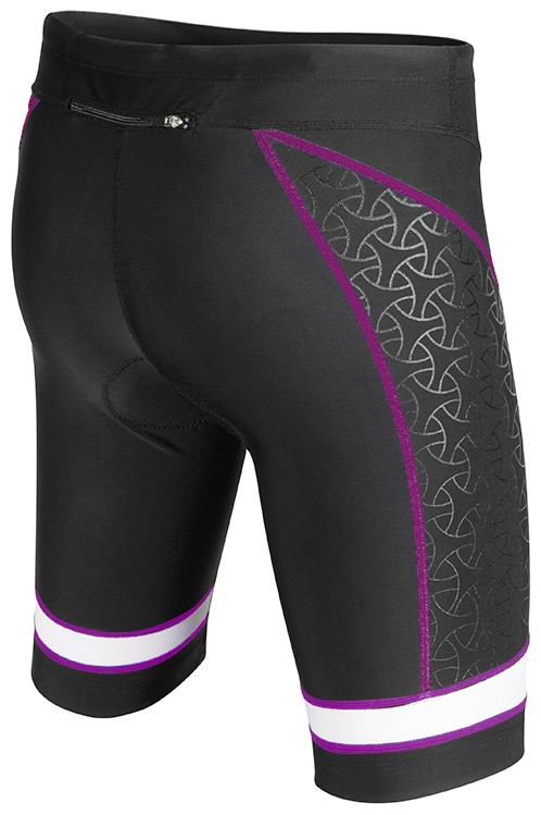 TYR Women's Competitor 8 Inch Tri Short (BLACK/PURPLE (068))