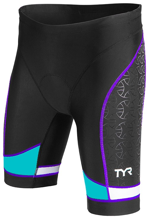 TYR Women's Competitor 8 Inch Tri Short (BLACK/TURQUOISE/PURPLE (578))