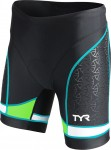 TYR Women's Competitor 6 Inch Tri Short (Black/Green/Lt. Blue (707))
