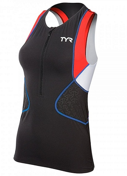 TYR Women's Competitor Singlet (Black/Coral/Blue (708))