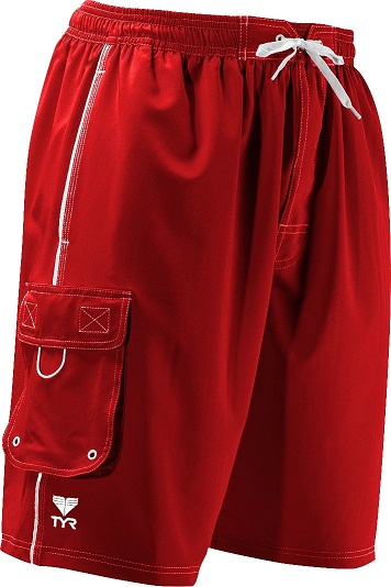 TYR Men's Solid Challenger Swim Trunk (Red (610))