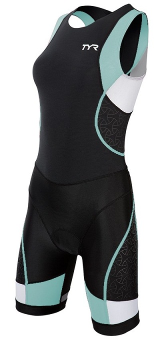 TYR Women's Competitor Trisuit with Back Zipper (Black/Lt Blue (128))