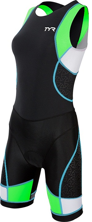 TYR Women's Competitor Trisuit with Back Zipper (Black/Green/Lt Blue (707))