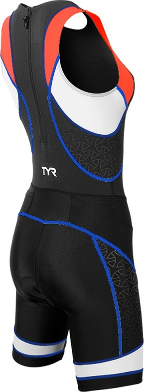 TYR Women's Competitor Trisuit with Back Zipper (Black/Coral/Blue (708):)