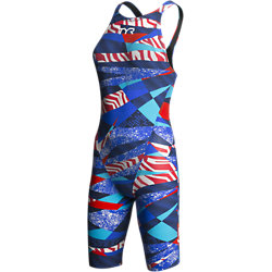 TYR Female Avictor Prelude Open Back Swimsuit (Red/White/Blue (636))