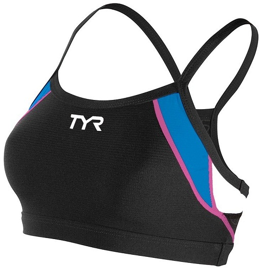 TYR Women's Competitor Thin Strap Bra (Black/Blue/Pink (859))