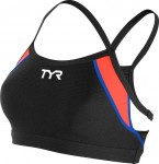 TYR Women's Competitor Thin Strap Bra (Black/Coral/Blue (708))