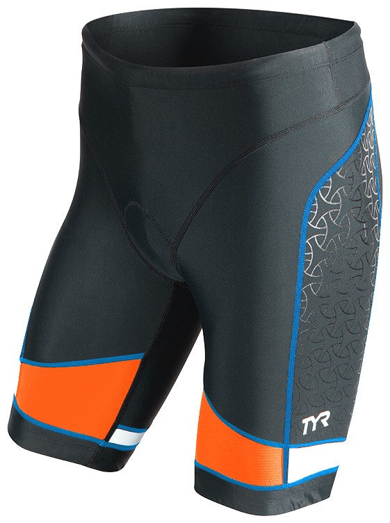 TYR Men's Competitor 9 Inch Tri Short (Black/Blue/Orange (577))