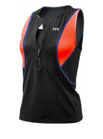 TYR Womens Competitor Loose Singlet w/Bra (Black/Coral/Blue (708))