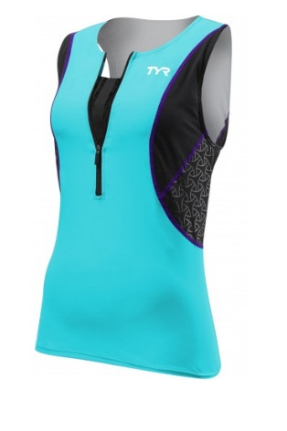 TYR Womens Competitor Loose Singlet w/Bra (Black/Turquoise/Purple (578))