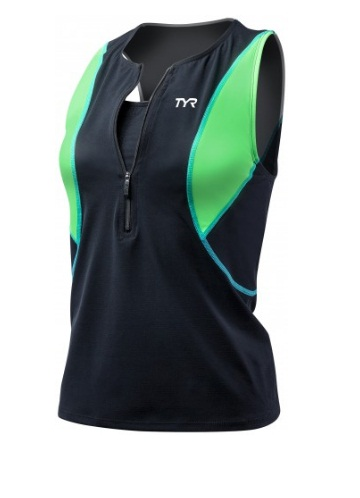 TYR Womens Competitor Loose Singlet w/Bra (Black/Green/Lt. Blue (707))