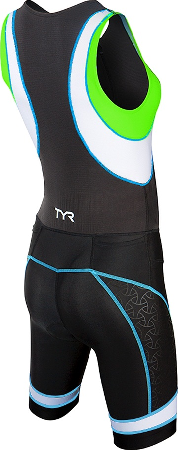 TYR Women's Competitor Trisuit with Front Zipper (Black/Green/Lt Blue (707))