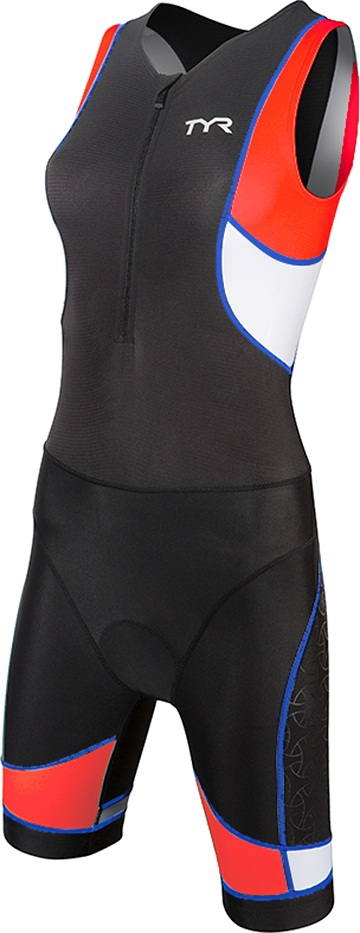 TYR Women's Competitor Trisuit with Front Zipper (Black/Coral/Blue (708):)
