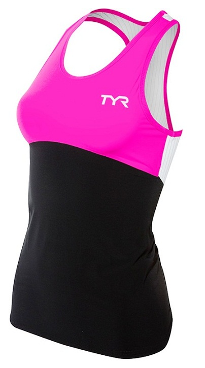 TYR Women's Carbon Triathlon Tank (Black/Pink (121))