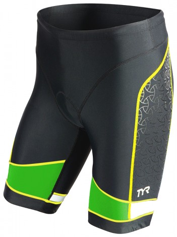 TYR Men's Competitor 9 Inch Tri Short (Black/Green/Yellow (576))