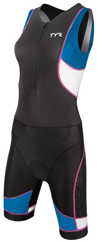 TYR Women's Competitor Trisuit with Front Zipper (Black/Blue/Pink (859))